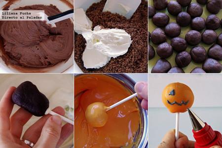 Cake pops o bizcobolas de chocolate con forma de calaveras y calabazas. Receta de Halloween. Pasos