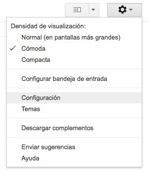 Gmail Menu Configuracion