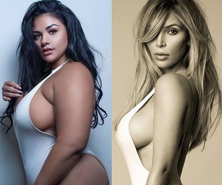 Una modelo plus size recrea una sesión de Kim Kardashian en bañador con un poderoso mensaje body positive