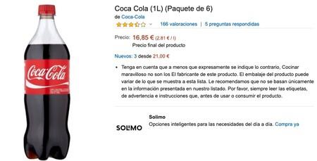 Coca Cola 1l Paquete De 6 Amazon Es Alimentacion Y Bebidas