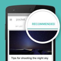 Pocket 6.0 para Android estrena las Recomendaciones, para ofrecerte los mejores contenidos