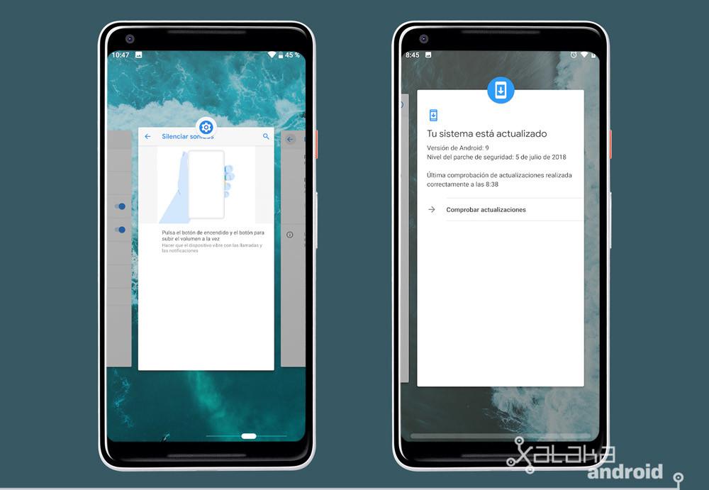 Android P Beta tres multitarea