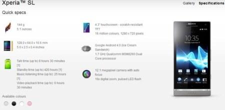 Especificaciones Sony Xperia SL