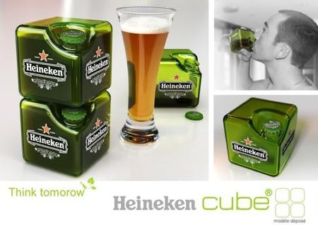 ¿Beberías cerveza de un botellín cúbico por ahorrar espacio?