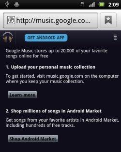 Google venderá canciones a través del Android Market