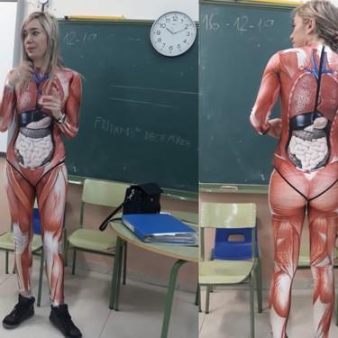 """Una profesora de Primaria """"se deja la piel"""" para enseñar a sus alumnos el interior del cuerpo humano de manera muy explícita"""