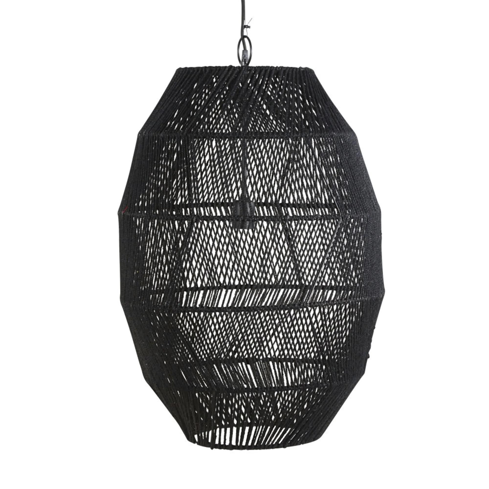 Lámpara de techo de yute trenzado negro