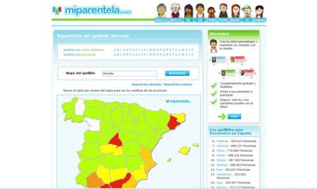 Miparentela.com estrena mapa de apellidos