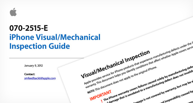 iPhone visual/mechanical inspection guide