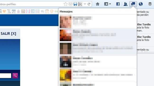 Iconos de Facebook en la barra de herramientas de Firefox