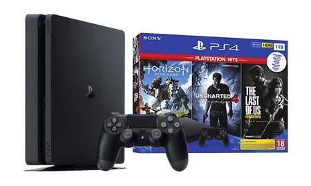 La PS4 Slim de 1 TB con Uncharted 4, The Last of Us y Horizon Zero Dawn, en eBay cuesta 50 euros menos, quedándose en 299,95
