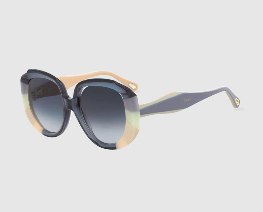 Gafas de sol de mujer Chloé con montura rectangular de acetato en azul
