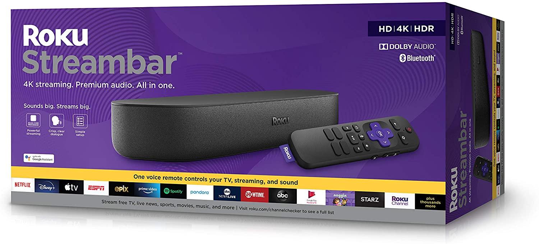 Roku Streambar 4K/HD/HDR y Audio Premium, Incluye Mando a Distancia de Voz