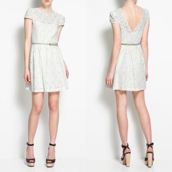 vestido encaje blanco zara