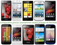Comparativa precios smartphones de tarjeta prepago con los operadores en Navidad