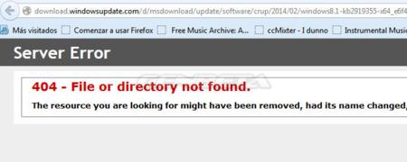 Error 404 al descargar KB2919355