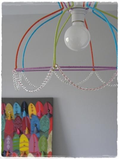Hazlo tú mismo: una colorida lámpara con la estructura de su pantalla