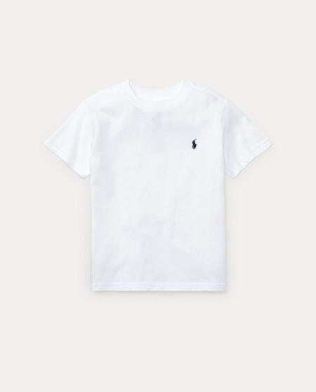 Camiseta Basica De Nino Polo Ralph Lauren En Blanco