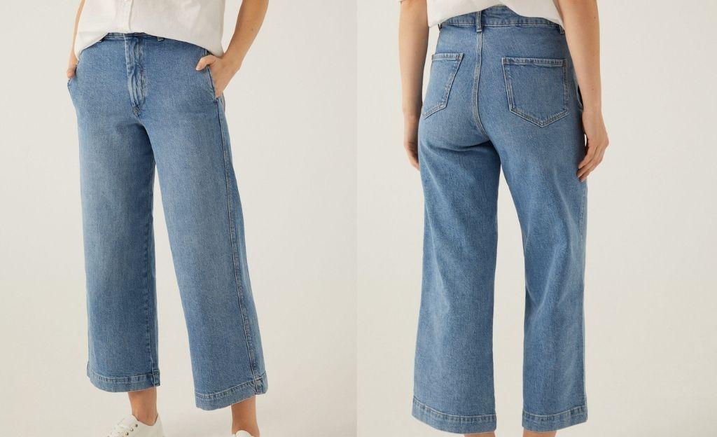 Jeans culotte talle alto