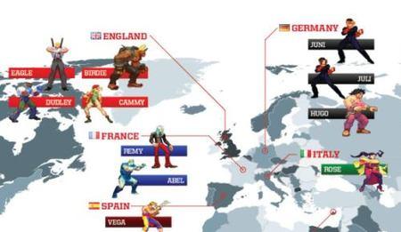 'Street Fighter'. Mapa con las localizaciones de sus luchadores