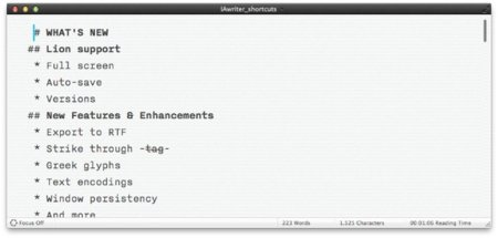 iA Writer 1.1 para Mac, actualizándose a Lion