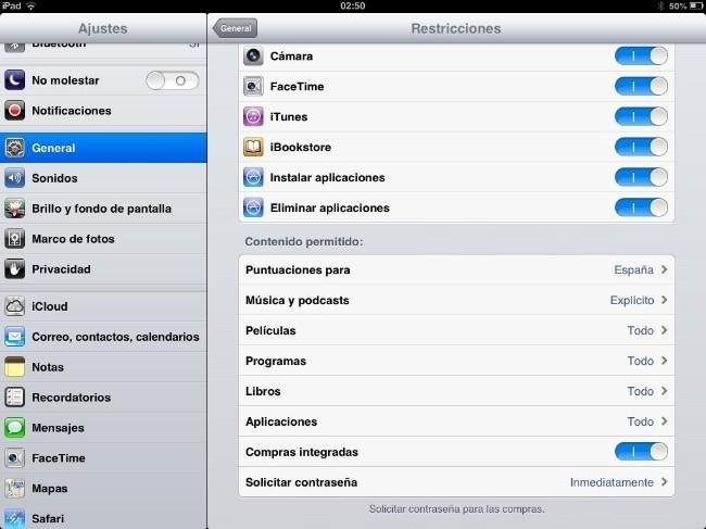 Restricciones iOS