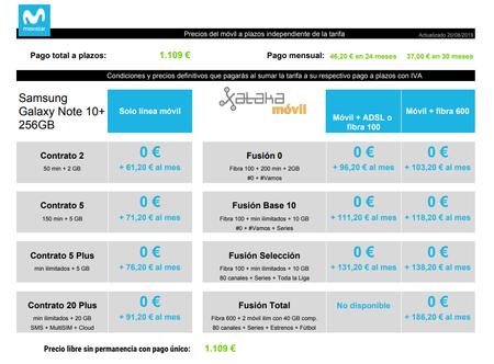 Precios Samsung Galaxy Note 10 Plus De 256 Gb A Plazos Con Tarifas Movistar