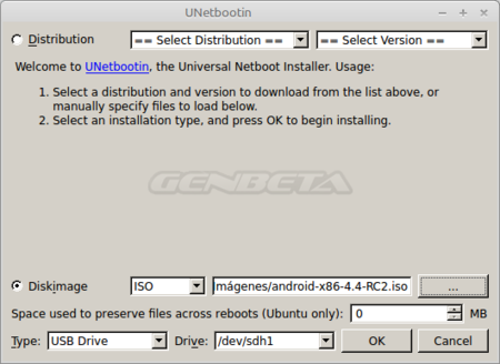 Android-x86, creación de medio de arranque con Unetbootin