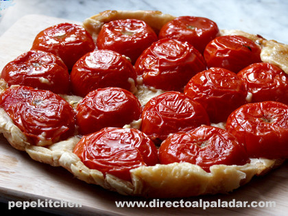 Tarta tatin de tomates. Receta