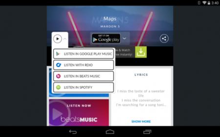 Shazam integra Google Play Music Track Streaming