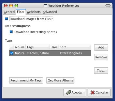 Webilder, fotos de Flickr como fondos de pantalla para linux
