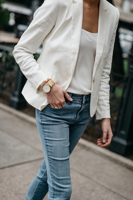 Fashion Jackson Ann Taylor White Blazer White Cami Denim Jeans