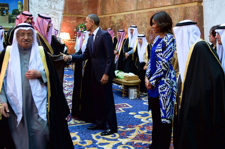President And First Lady Obama With Saudi King Salman Shake Hands With Members Of The Saudi Royal Family