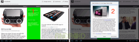 HoneyReader cliente de Google Reader para Honeycomb