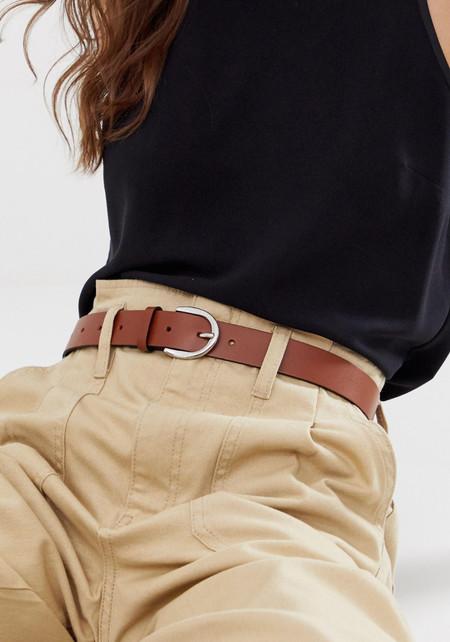 Cinturon Asos Cuero 3Cinturón para vaqueros en cuero tostado con hebilla ovalada de ASOS DESIGN