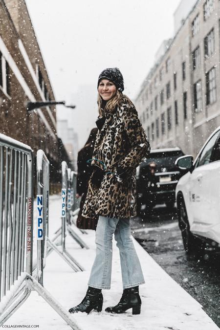 Nyfw New York Fashion Week Fall Winter 17 Street Style Jessica Minkoff Leopard Coat Beanie 1