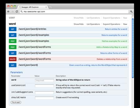 Swagger, framework para generar documentación de APIs RESTful y un sandbox para probar llamadas