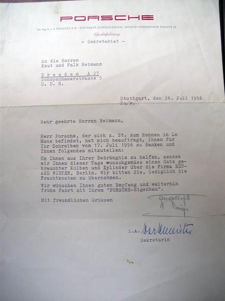 Carta Ferry Porsche a los Reimann