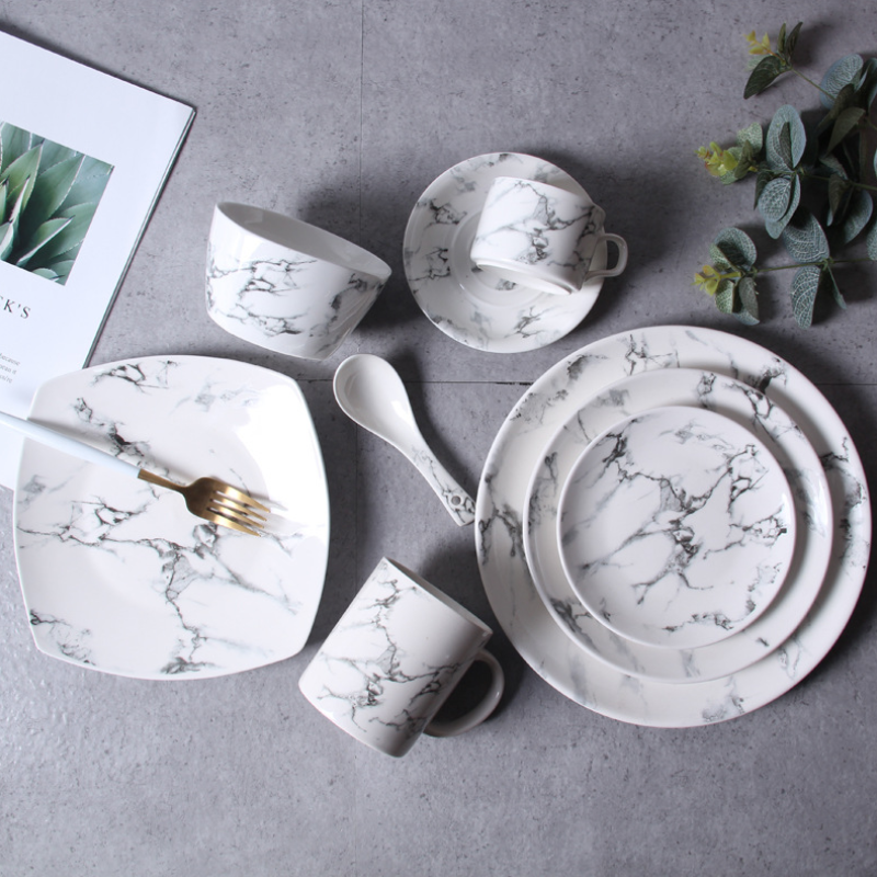 Vajilla de mármol de estilo nórdico Set Bol sencillo plato creativo taza occidental plato de carne