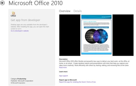 Y la primera aplicación de Windows Store es... Office 2010