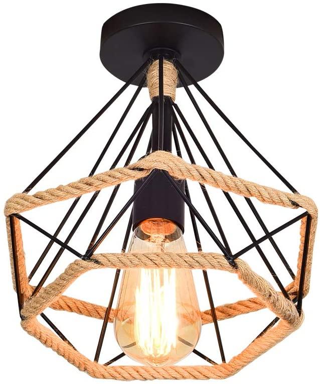 Lámpara de Techo Retro Vintage de Plafón Industrial jaula en forma de diamante de Metal con cuerda de cáñamo,hierro,lámpara colgante para salón,dormitorio,decoración de casa,25CM [Clase de eficiencia energética A+]