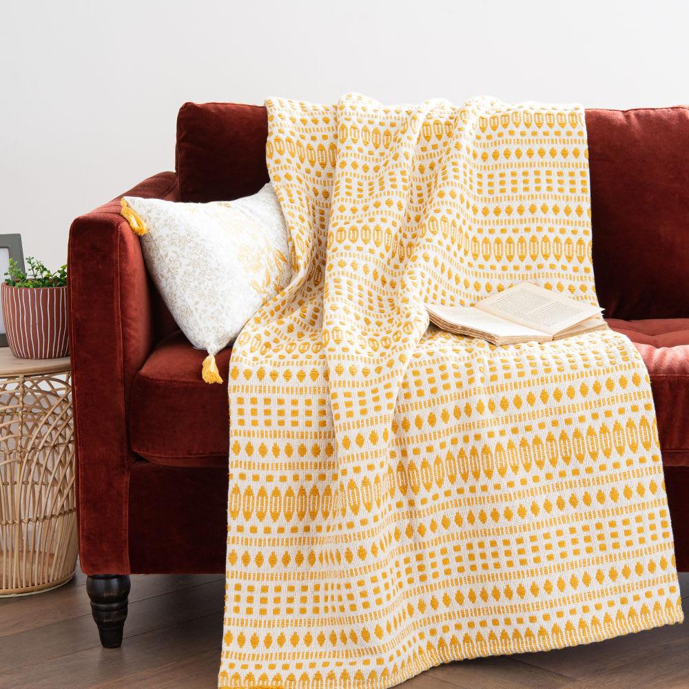 Manta de algodón tejido color crudo y amarillo 160x210