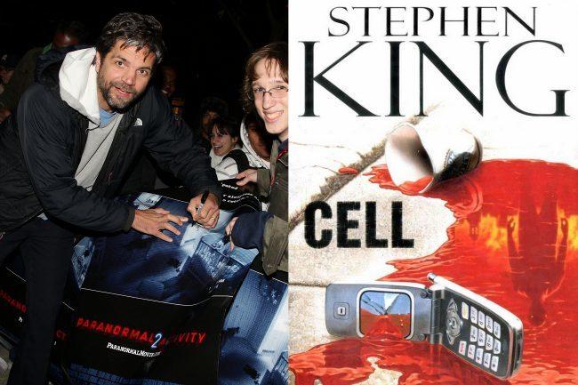 Tod Williams (firmando un cartel de Paranormal Activity 2) y la portada del libro Cell