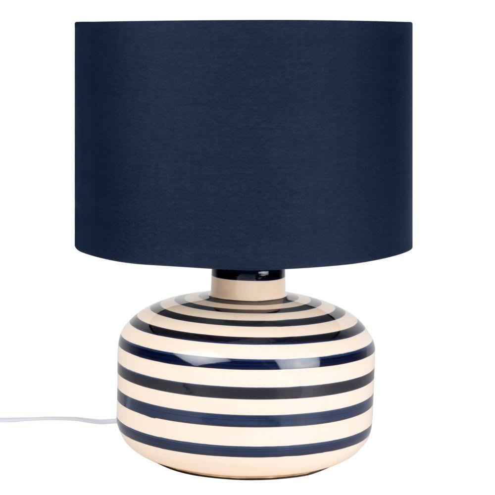 Lámpara de cerámica blanca con rayas y pantalla azul
