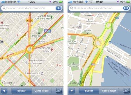 Google añade la información del tráfico en tiempo real en los mapas españoles