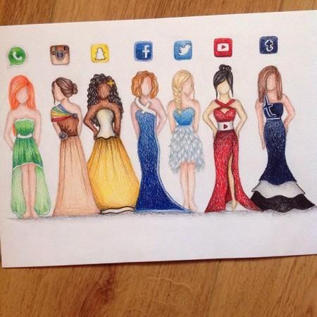 ¿Llevarías un vestido con el logo de Twitter o Instagram?, las redes sociales se vuelven diseños