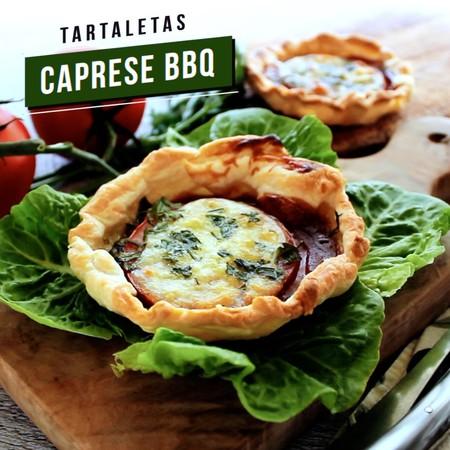 Tartataletas Caprese BBQ. Receta de botana en video