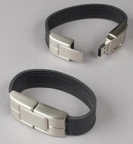 Pulsera de cuero con USB, diseño y tecnología