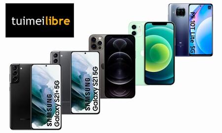 Ofertas en smartphones de gama alta en tuimeilibre: los mejores precios para los Galaxy S21, los iPhone 12 o el Xiaomi Mi 10T Lite