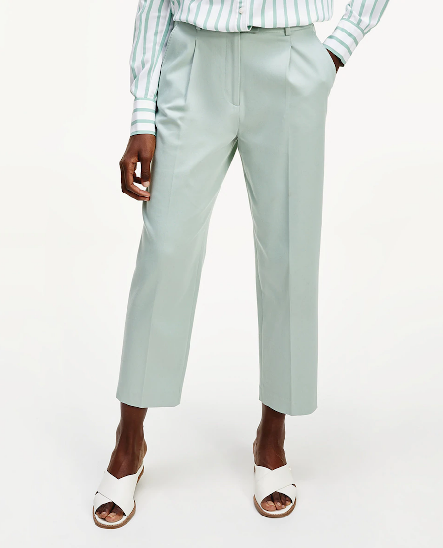 Pantalón de mujer de pinzas largo crop